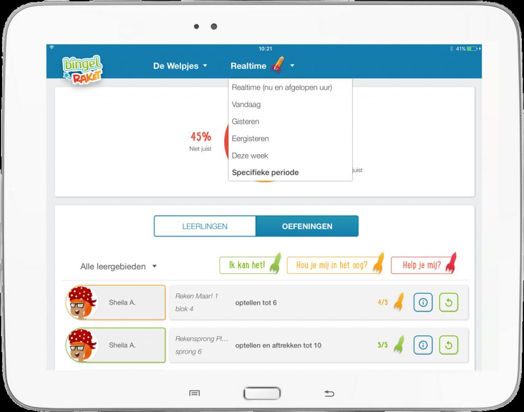 Het leerlingenoverzicht van de Bingel Raket leraren-app